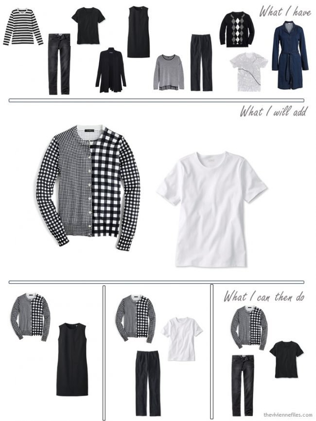 7. adding a cardigan and tee to a travel capsule wardrobe