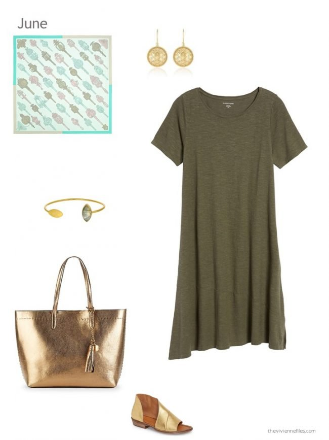 adding an olive dress to a capsule wardrobe