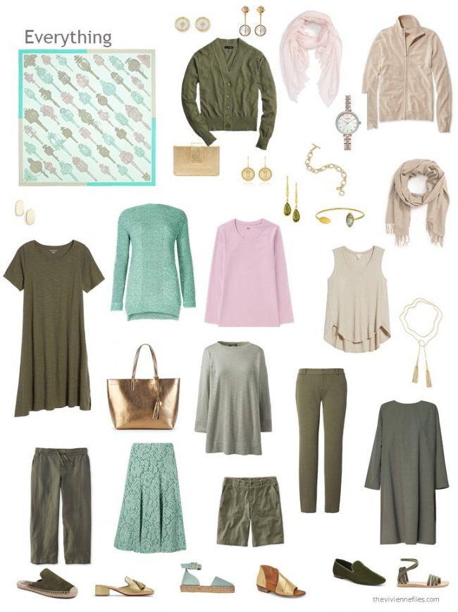8. 12-piece capsule wardrobe in olive, camel, green and pink