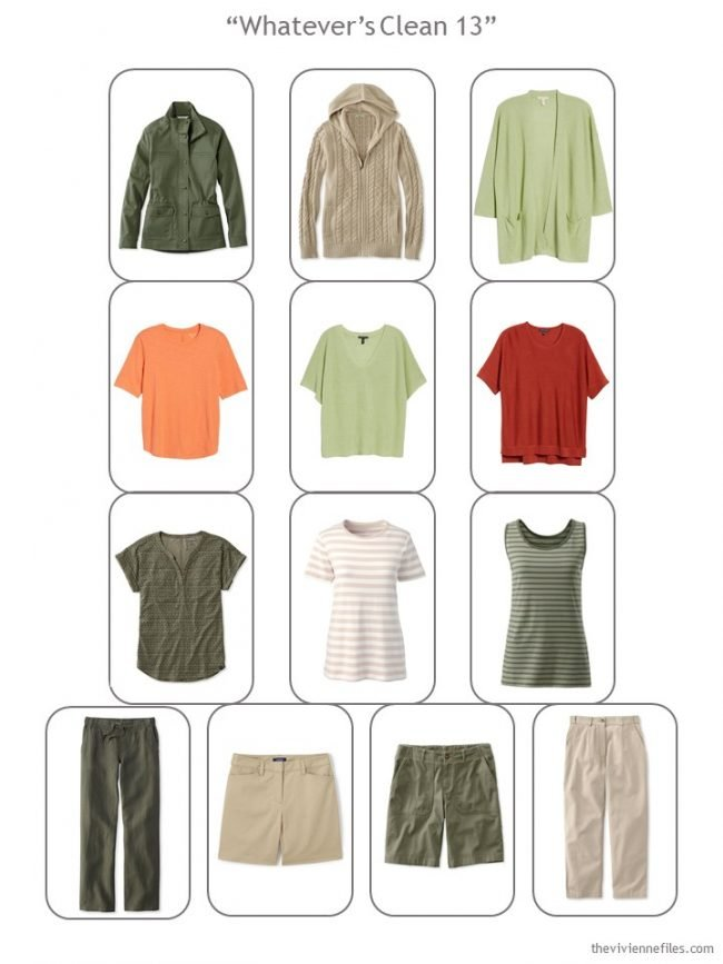 9. a complete Whatever's Clean wardrobe in olive, khaki, red and orange