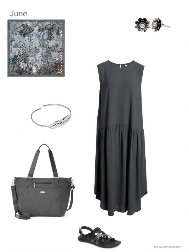 9. adding a charcoal dress to a capsule wardrobe