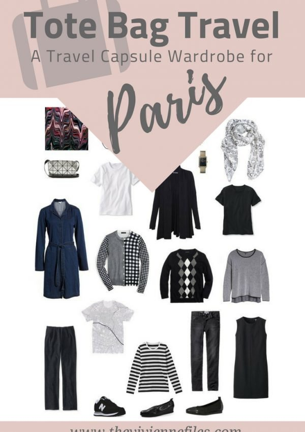 A travel capsule wardrobe for spring travel to Paris, France in black and white.