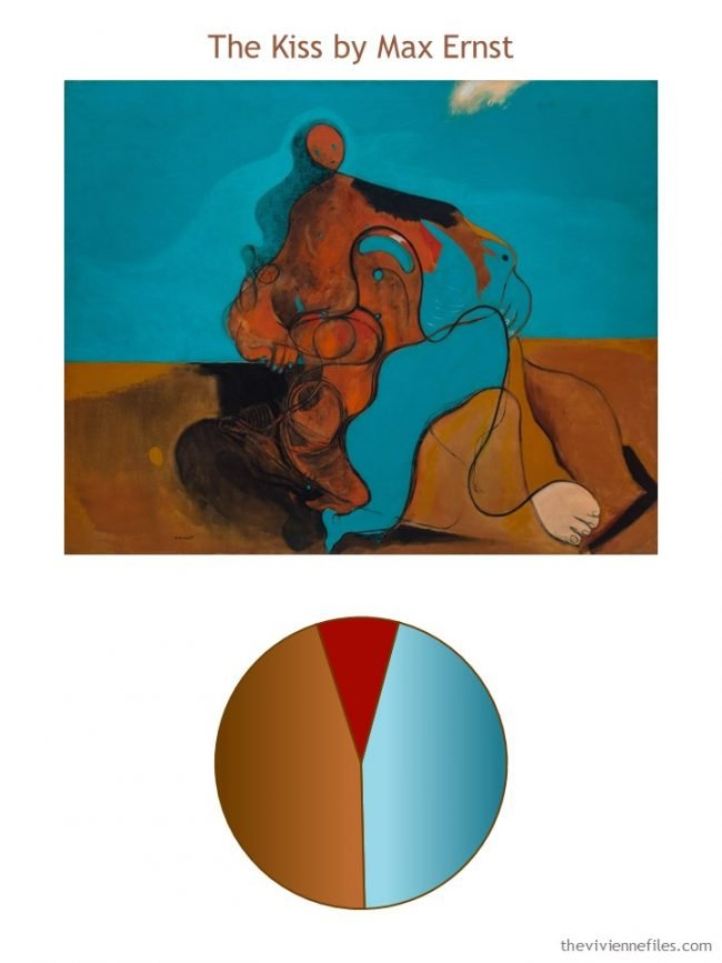 The Kiss by Max Ernst with color palette
