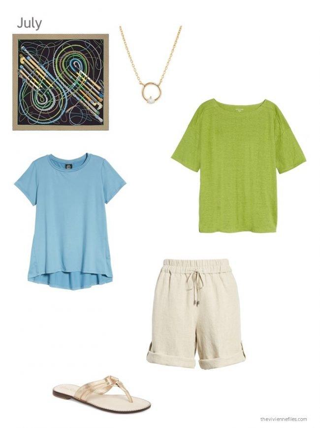 1. bright tee shirts and neutral shorts