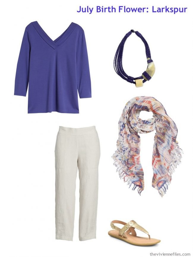 1. wearing purple with beige