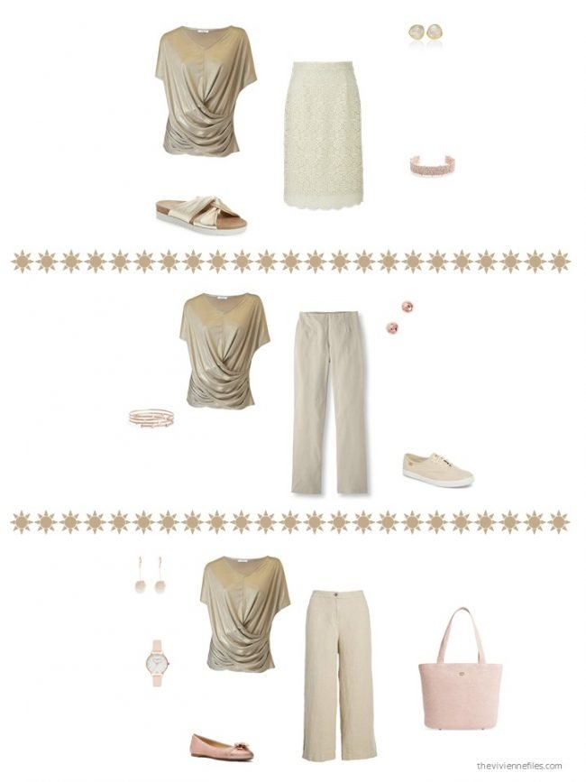 10. 3 ways to wear a gold tee shirt in a capsule wardrobe