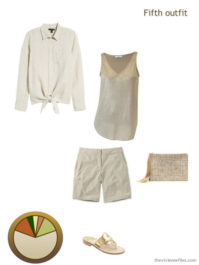 10. beige and gold outfit from a travel capsule wardrobe