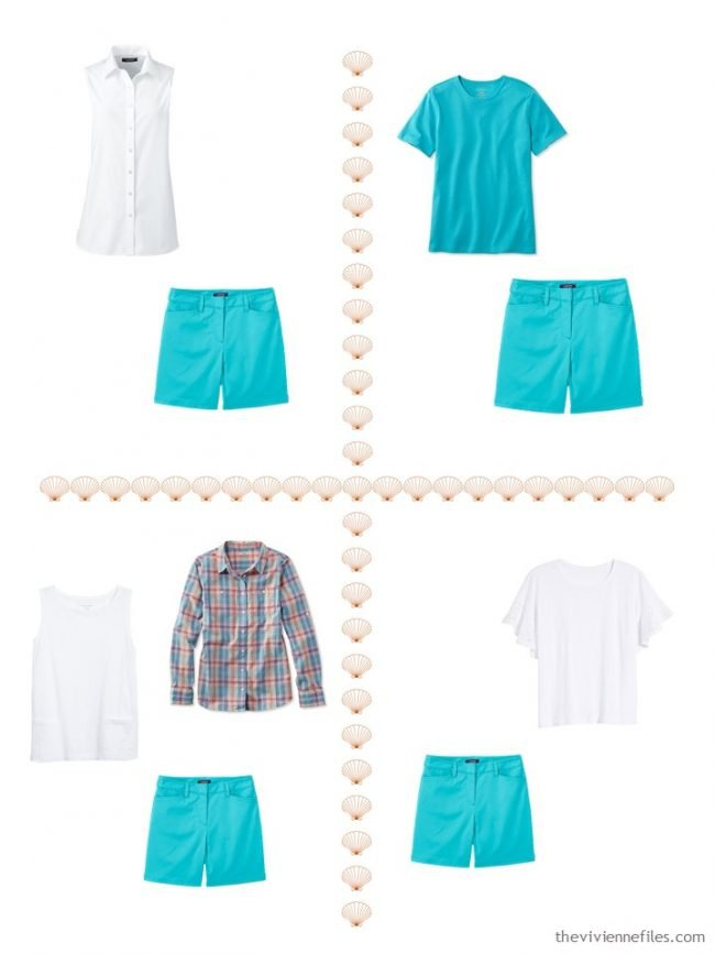 11. 4 ways to wear turquoise shorts from a 4 by 4 Wardobe