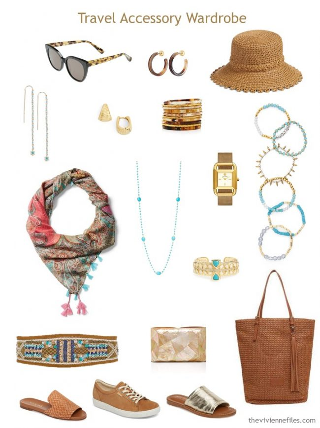 11. accessory travel capsule wardrobe in brown, gold and turquoise