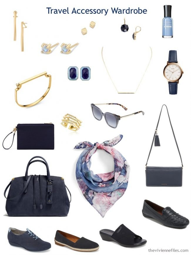 11. navy-based accessory travel capsule wardrobe