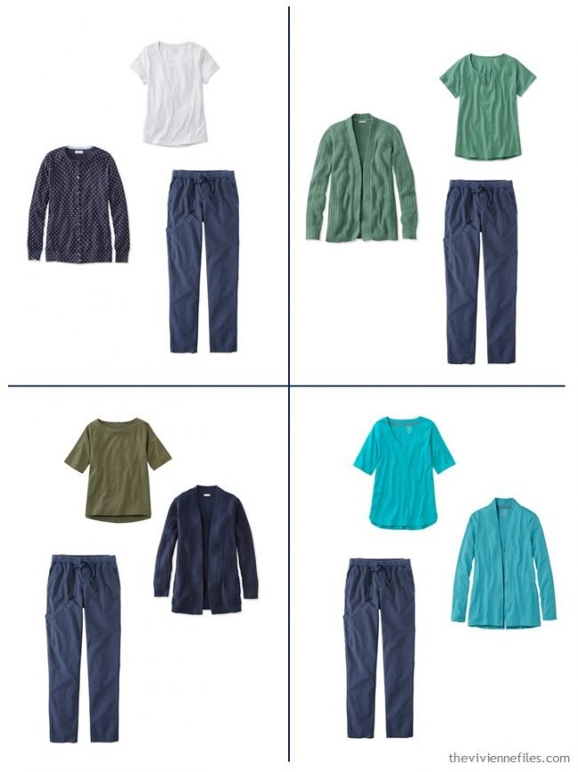 12. 4 outfits from a streamlined wardrobe in navy, olive and turquoise