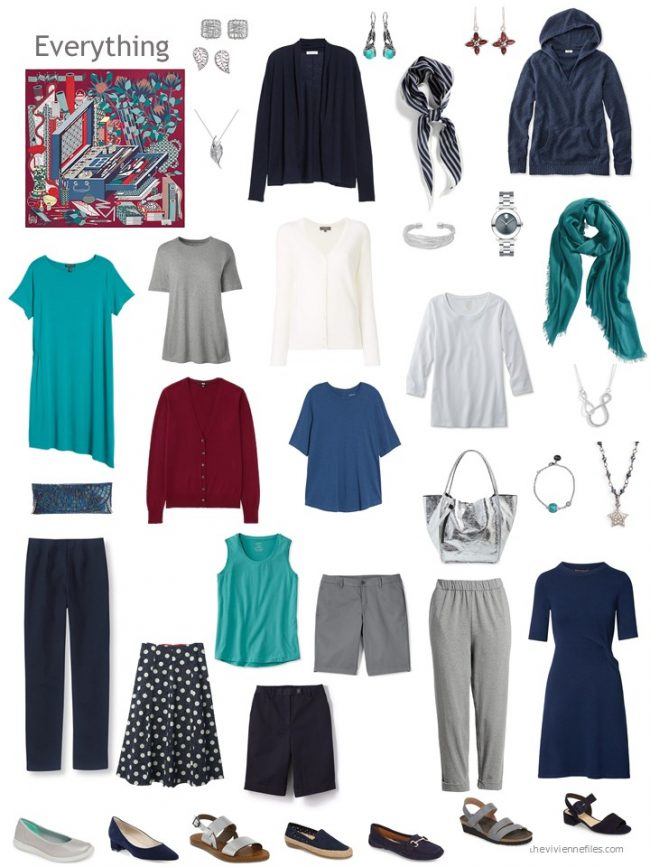 12. capsule wardrobe based on a dark red and blue Hermes scarf