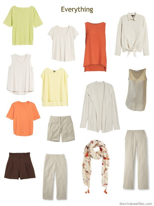 13-piece travel capsule wardrobe in beige with orange, yellow and green