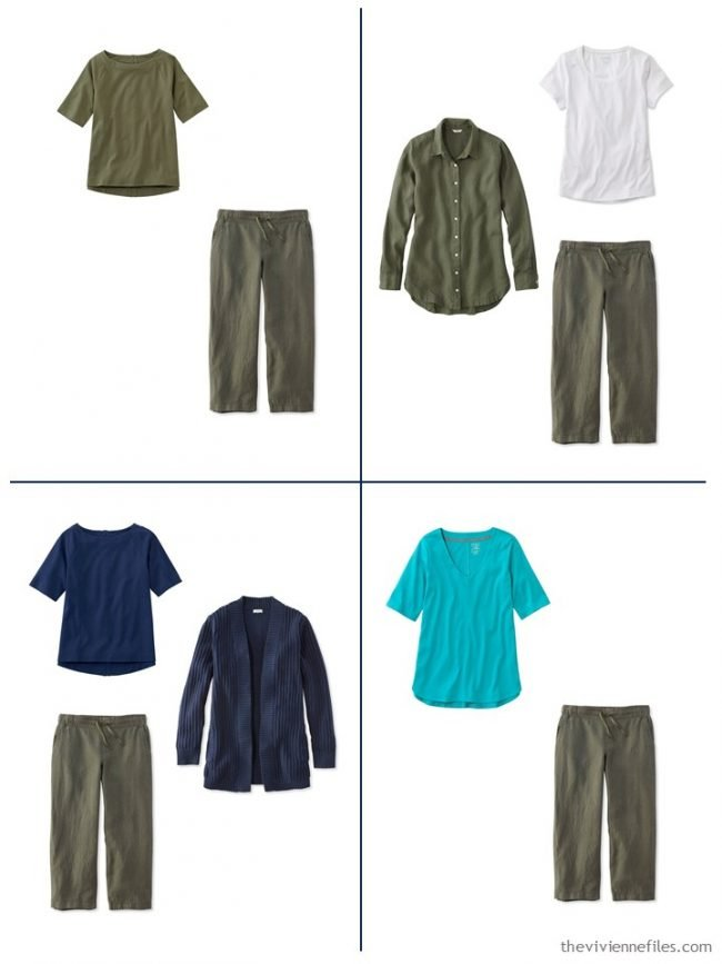 13. 4 outfits from a streamlined wardrobe in navy, olive and turquoise