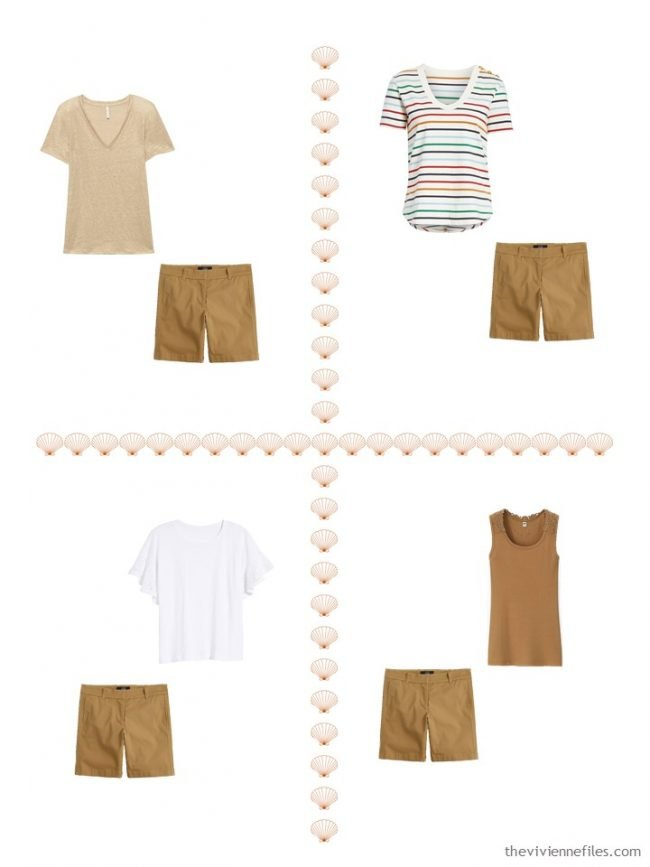 13. 4 ways to wear brown shorts from a 4 by 4 Wardrobe