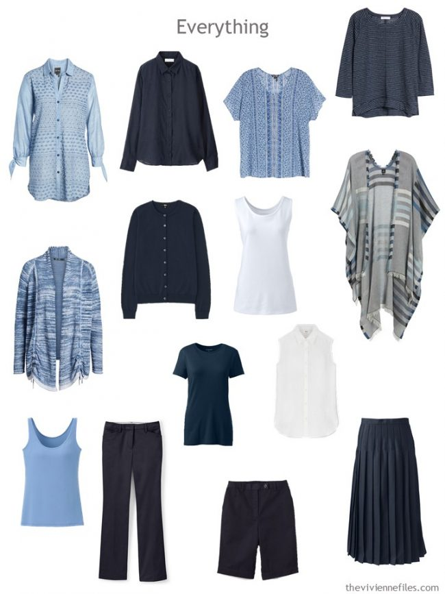 14-piece travel capsule wardrobe in navy, white and sky blue