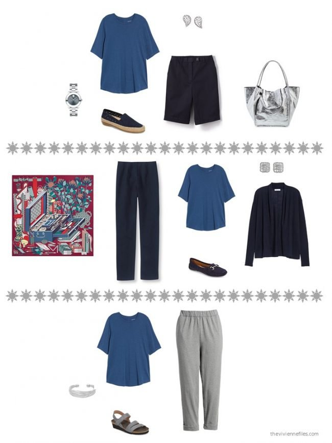 14. 3 ways to wear a blue tee shirt from a capsule wardrobe
