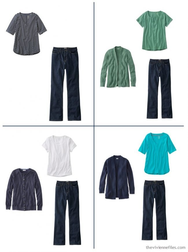 14. 4 outfits from a streamlined wardrobe in navy, olive and turquoise