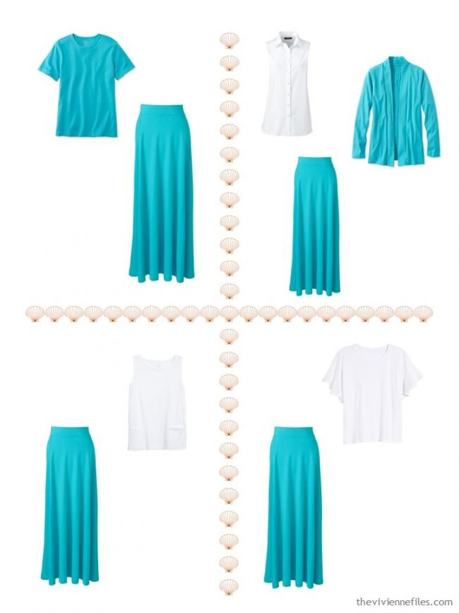 14. 4 ways to wear a turquoise maxi skirt from a 4 by 4 Wardrobe