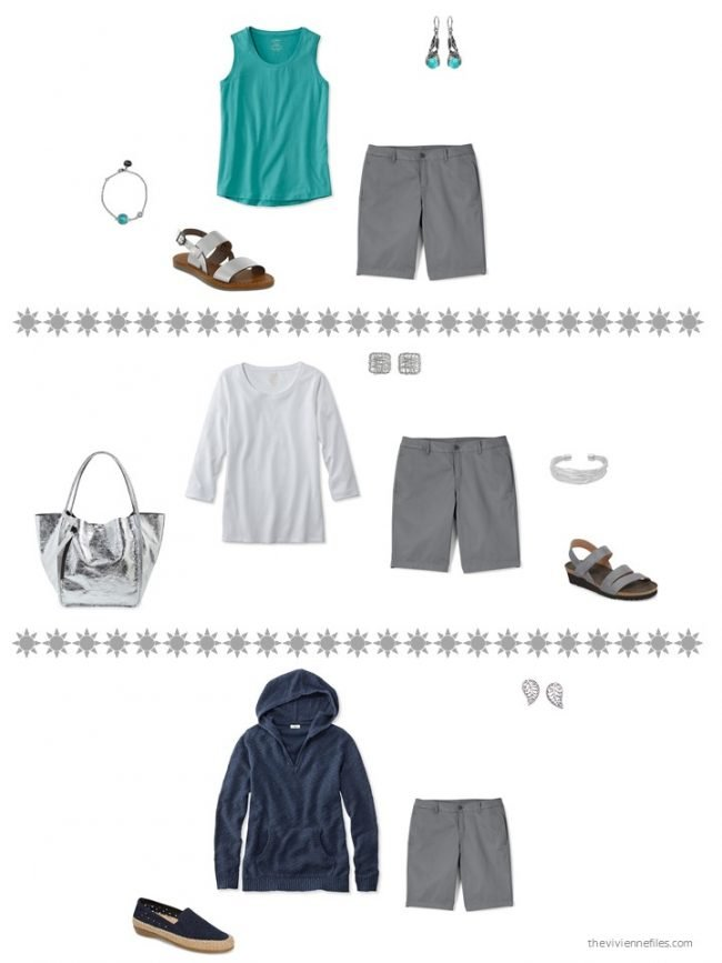 15. 3 ways to wear grey shorts from a capsule wardrobe