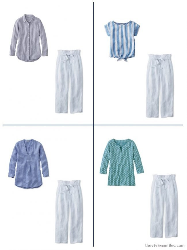 15. 4 outfits from a streamlined wardrobe in navy, olive and turquoise
