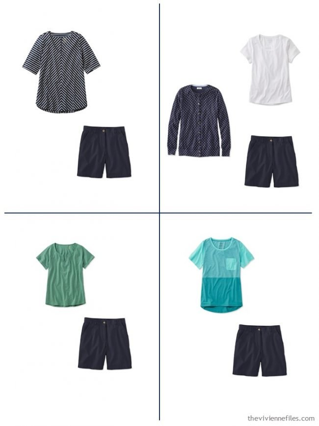 16. 4 outfits from a streamlined wardrobe in navy, olive and turquoise