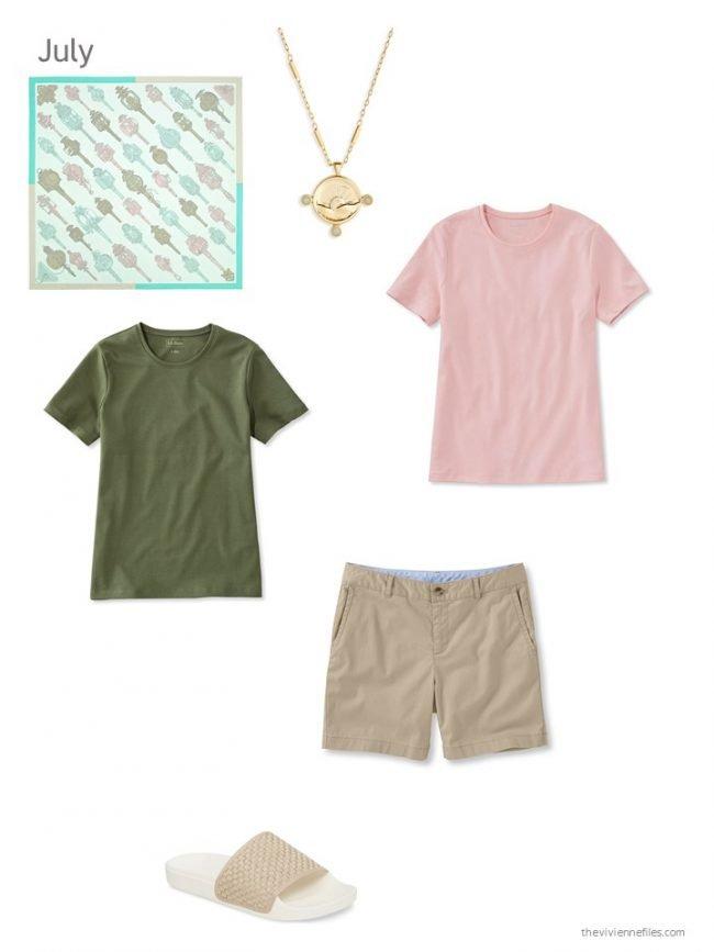16. olive tee, blush tee, and khaki shorts