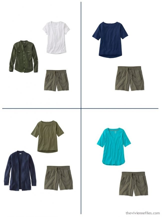 17. 4 outfits from a streamlined wardrobe in navy, olive and turquoise