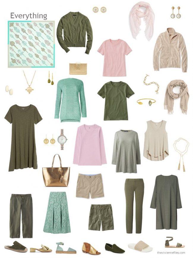 17. capsule wardrobe based on a pastel green Hermes scarf