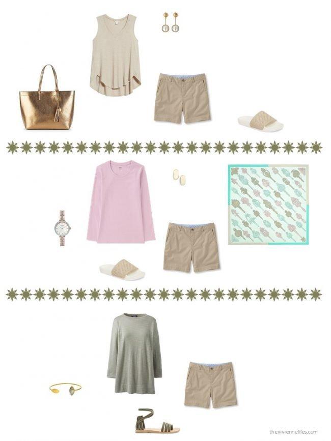 18. 3 ways to wear khaki shorts from a capsule wardrobe
