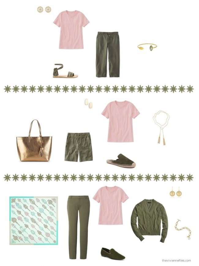 19. 3 ways to wear a pink tee shirt from a capsule wardrobe