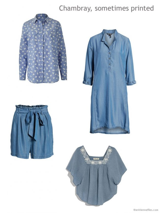 chambray garments seen in Paris