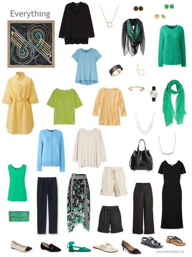 2. capsule wardrobe based on a black Hermes scarf