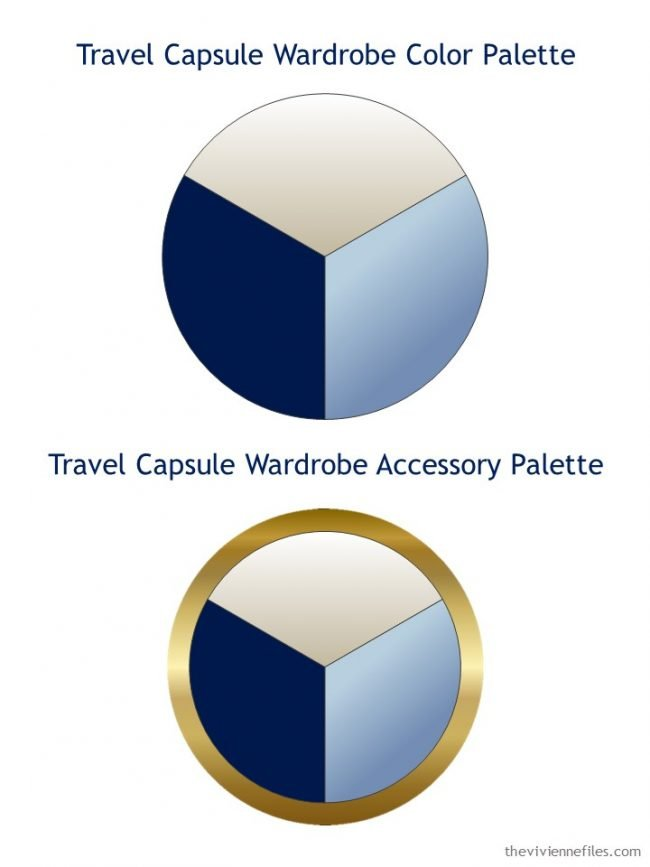 2. navy-based wardrobe palette, and accessory palette