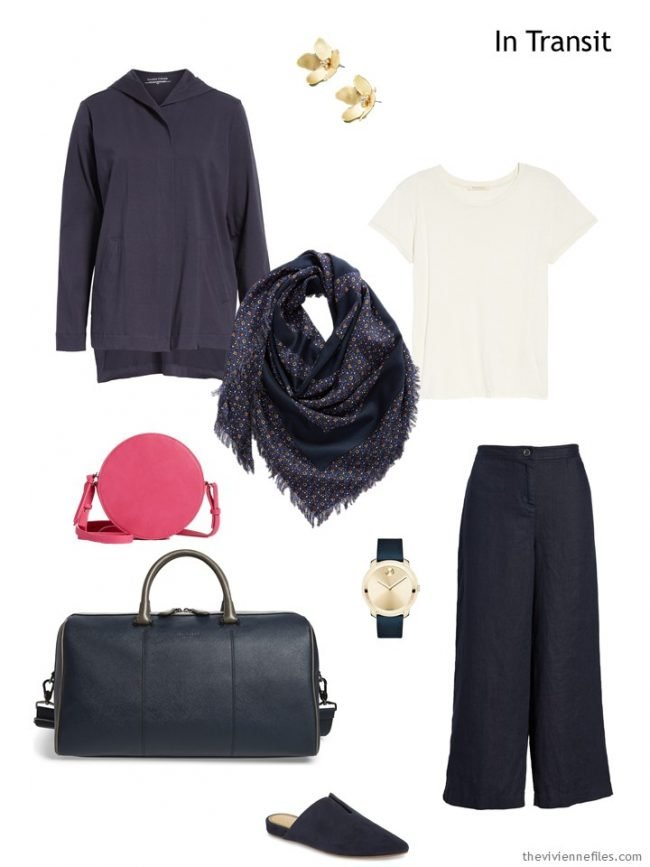 travel outfit in navy and bone with hot pink accents