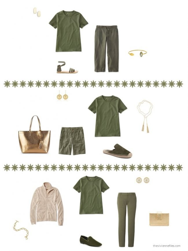 20. three ways to wear a green tee shirt from a capsule wardrobe