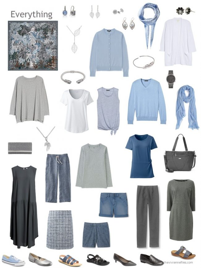 22. capsule wardrobe based on a grey and blue Hermes scarf