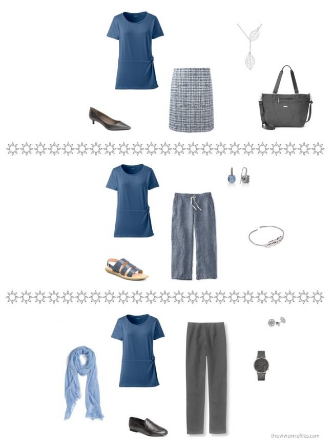 24. 3 ways to wear a blue tee shirt from a capsule wardrobe