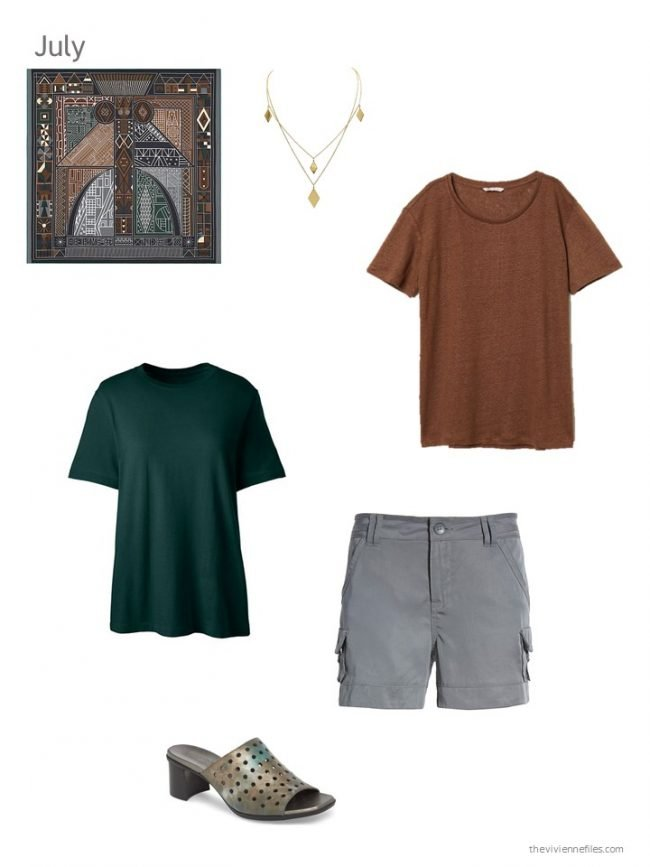 26. green tee, brown tee and grey shorts