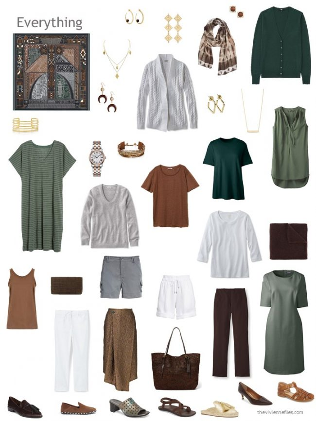 27. capsule wardrobe based on a brown, green and grey Hermes scarf