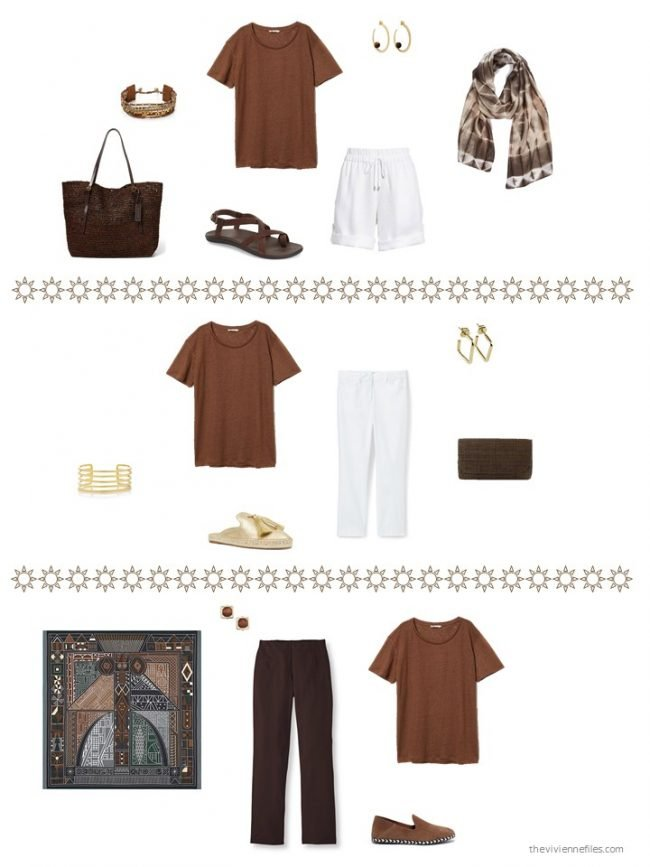 28. 3 ways to wear a brown tee shirt from a capsule wardrobe