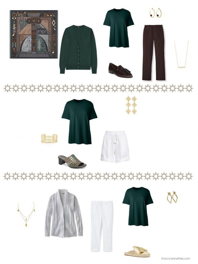 29. 3 ways to wear a green tee shirt from a capsule wardrobe