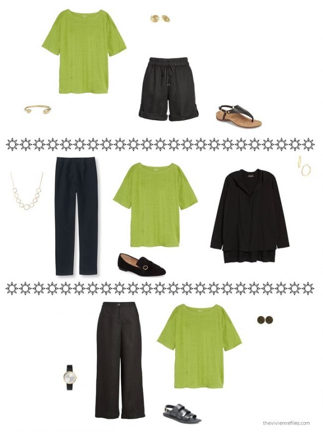 3. 3 ways to wear an acid green tee from a capsule wardrobe