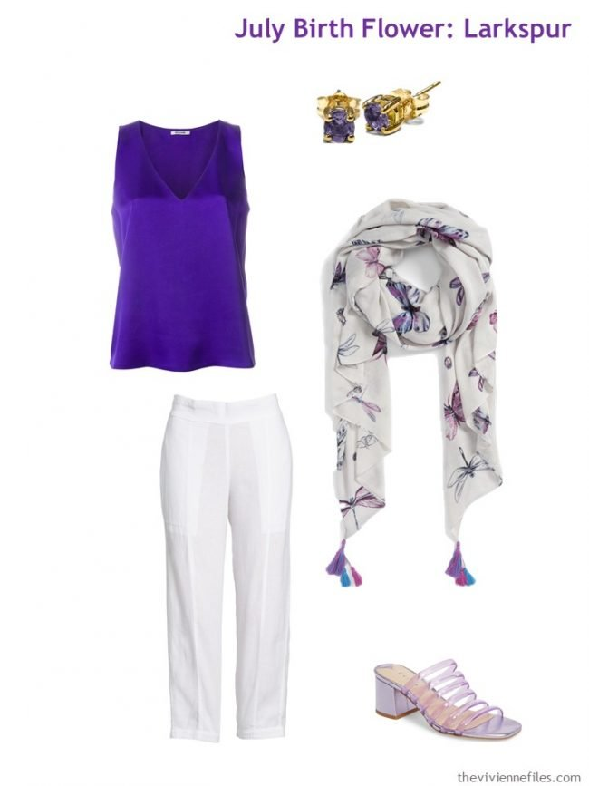 3. purple worn with white for hot weather