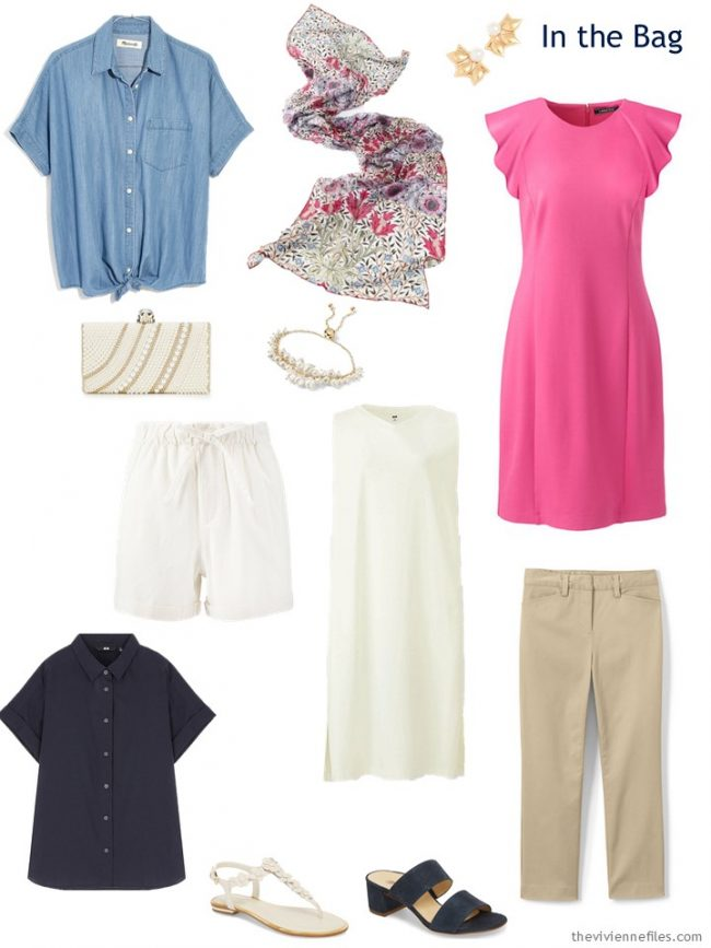 six-pack in ivory, beige, navy, chambray and pink