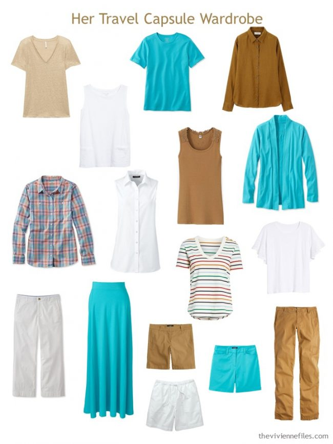 4 16-piece travel capsule wardrobe in turquoise, rust brown and white