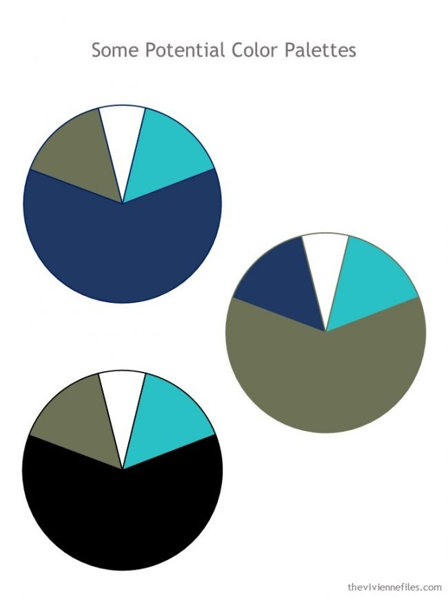 4. 3 potential color palettes for a wardrobe