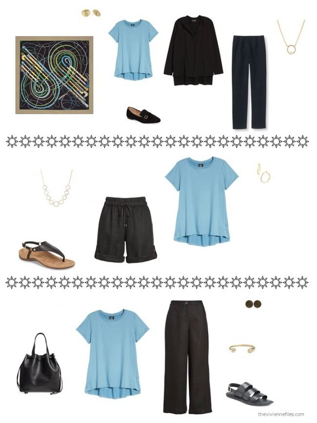 4. three ways to wear a sky blue tee from a capsule wardrobe