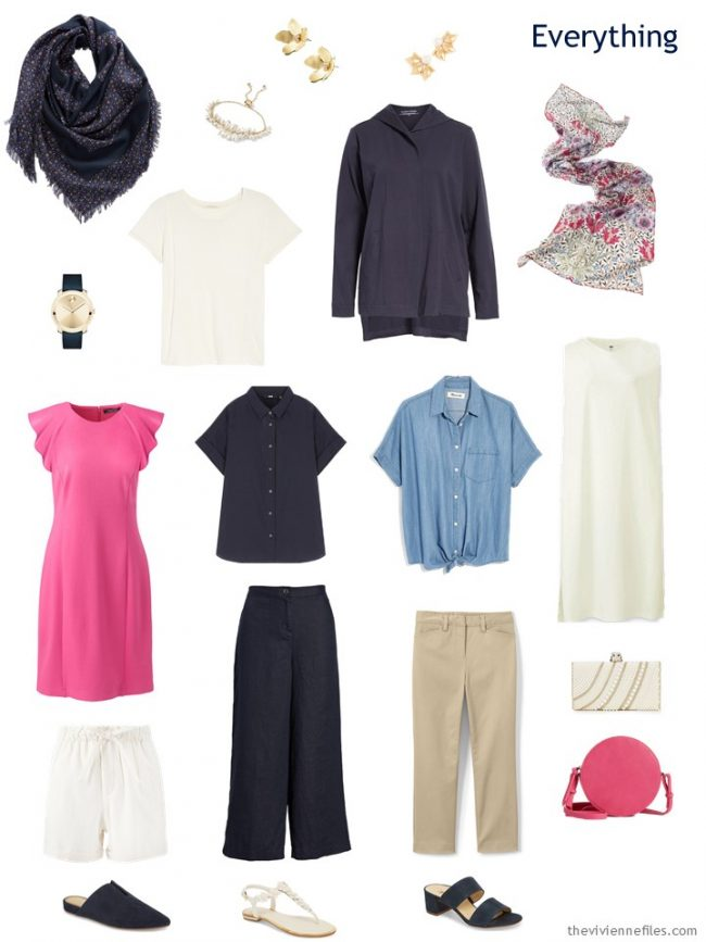 travel capsule wardrobe in navy and ivory