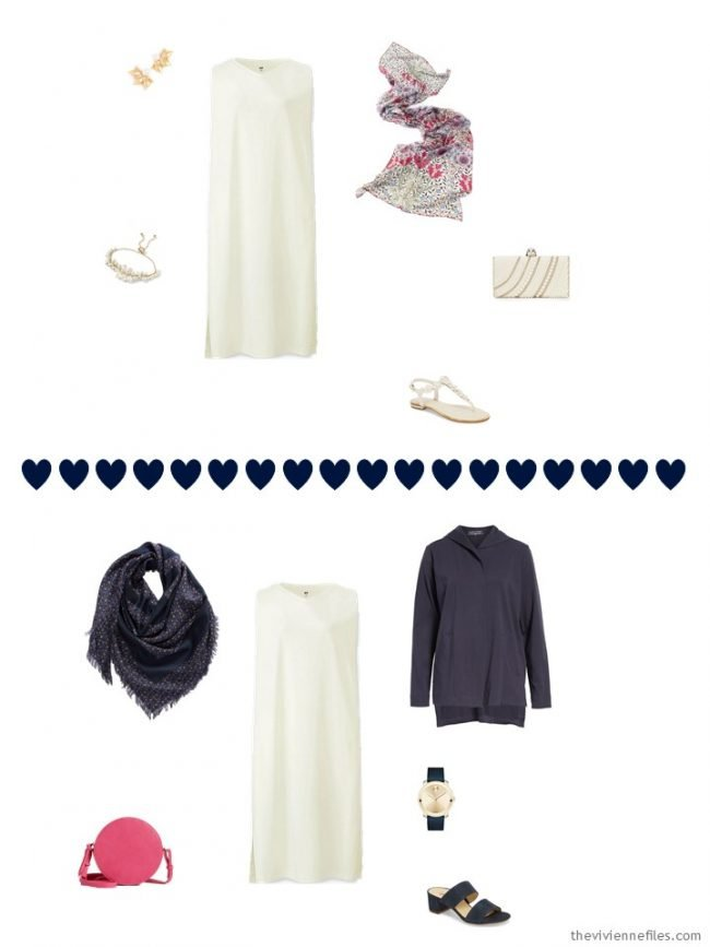 2 ways to wear an ivory dress from a travel capsule wardrobe